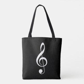 White-on-Black Treble Clef Tote Bag