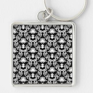 White on Black Tulip Damask Key Chains