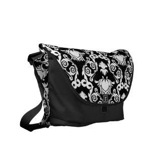 White on Black Tulip Damask Commuter Bag