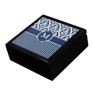 White on Blue Bold Damask Gift Box