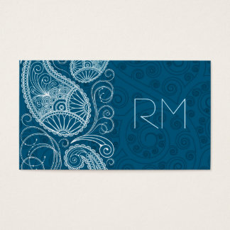 White On Blue Retro Paisley Pattern Design