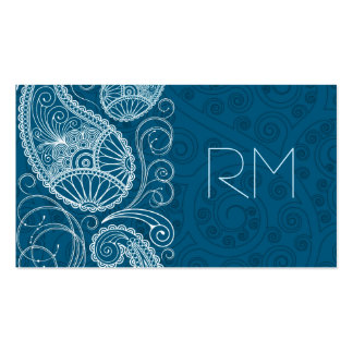 White On Blue Retro Paisley Pattern Design Pack Of Standard Business Cards