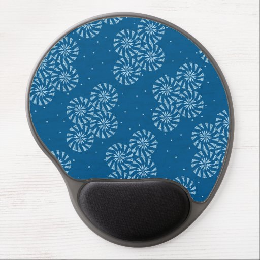 White on Blue Snowflake Winter Holiday Pattern Gel Mouse Pad
