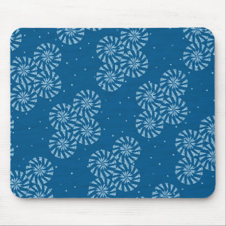 White on Blue Snowflake Winter Holiday Pattern Mouse Pad
