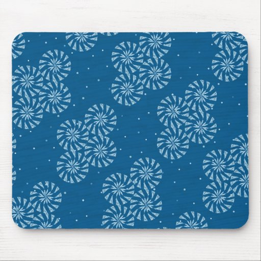 White on Blue Snowflake Winter Holiday Pattern Mousepad