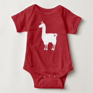 White On Colour Llama Baby Bodysuit
