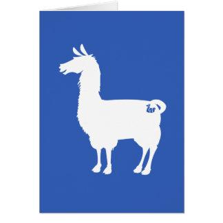 White On Colour Llama Greeting Card