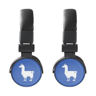 White On Colour Llama Headphones