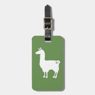 White On Colour Llama Luggage Tag