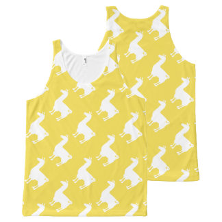 White On Colour Llama Tank Top Pattern