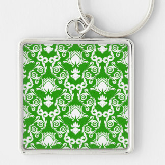 White on Green Damask Tulip Keychain