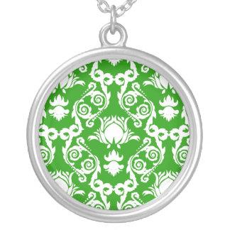 White on Green Damask Tulip Pendant