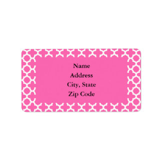 White on Hot Pink Quatrefoil Pattern Address Label