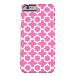 White on Hot Pink Quatrefoil Pattern Barely There iPhone 6 Case
