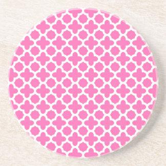 White on Hot Pink Quatrefoil Pattern Coaster