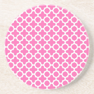 White on Hot Pink Quatrefoil Pattern Drink Coasters