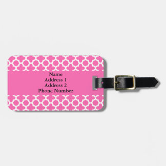 White on Hot Pink Quatrefoil Pattern Luggage Tag