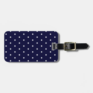 White on Navy Polka Dots Luggage Tag
