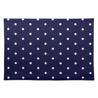White on Navy Polka Dots Placemat