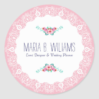 White On Pink Lace Floral Bouquet Accent Classic Round Sticker