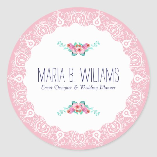 White On Pink Lace Floral Bouquet Accent Round