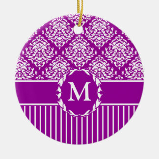 White on Purple Damask Christmas Tree Ornament
