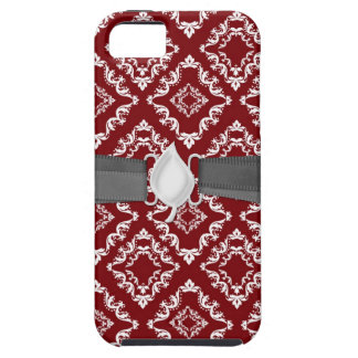 white on red diamond damask iPhone 5 covers