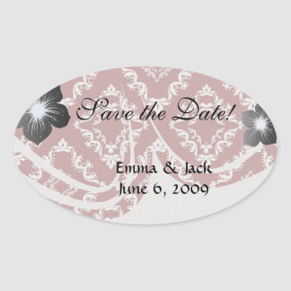 white on red diamond damask oval sticker