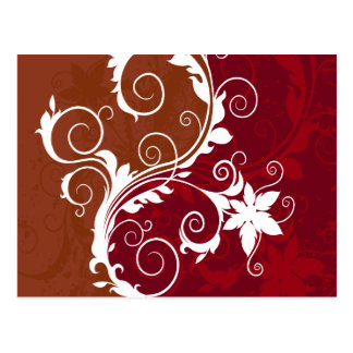White on Red Floral Grunge Postcard