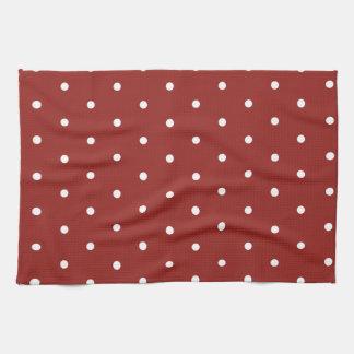 White on Red Polka Dots Tea Towel