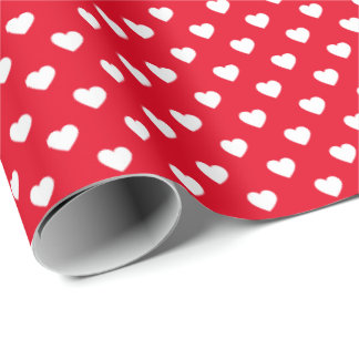 White on Red Tiny Hearts Patterned Wrapping Paper
