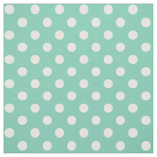 White on Teal Green Polka Dot Fabric