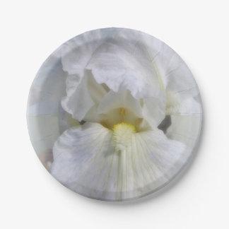 White On White Iris Flower Plates