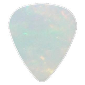 White Opal Both Sides White Delrin Guitar Pick