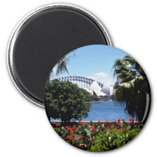 White Opera House in background, Sydney, Australia 6 Cm Round Magnet