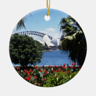 White Opera House in background, Sydney, Australia Round Ceramic Decoration