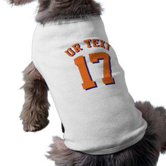 White & Orange Pets   Sports Jersey Design Sleeveless Dog Shirt