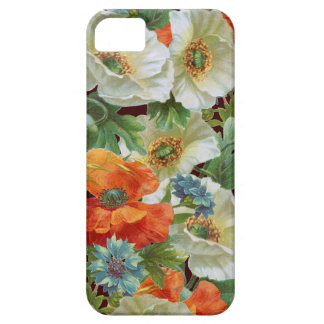 White Orange Poppies on Brown Floral iPhone Case Case For The iPhone 5