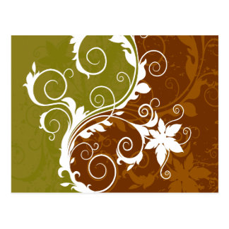 White Orange Rust Floral Grunge Postcard