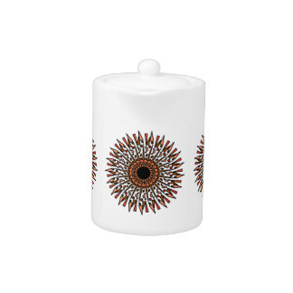 White Orange Tan Geometric Star Design Teapot