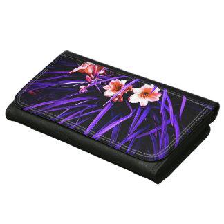 White Orange Tulips Purple Grass Leather Wallet