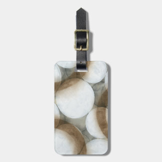 White Orbs & Brown Circles Luggage Tag