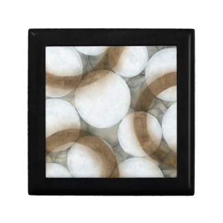 White Orbs & Brown Circles Small Square Gift Box
