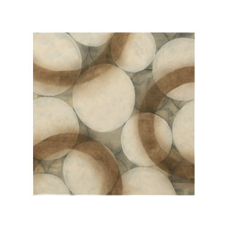 White Orbs & Brown Circles Wood Print