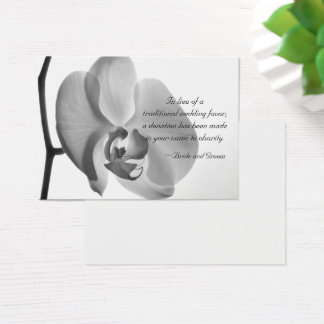 White Orchid Charity Wedding Favor Card