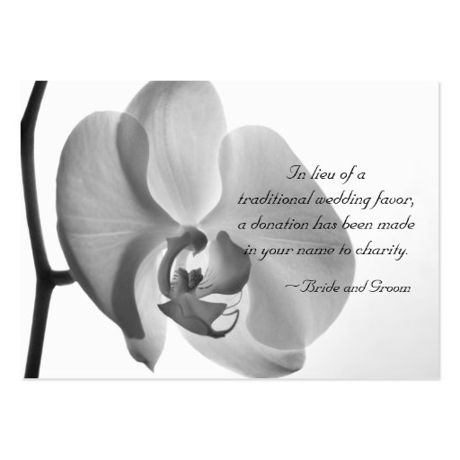 White Orchid Charity Wedding Favor Card Business Card