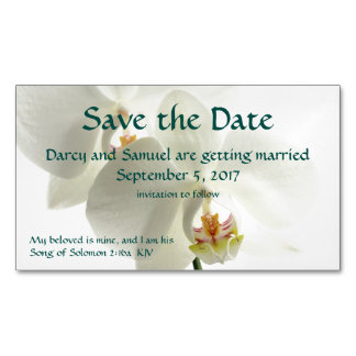 White Orchid Christian Wedding Save The Date Magnetic Business Cards