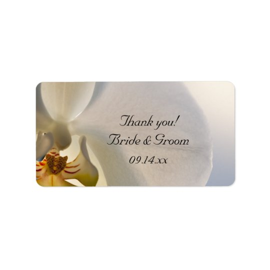 White Orchid Elegance Wedding Thank You Favour Label