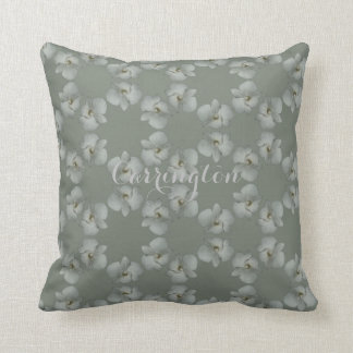 White orchid endless circles green gray cotton cushion