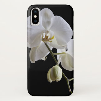 White Orchid Flower on Black iPhone X Case